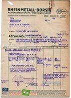 1944 WW2, GERMANY, SERBIA, INVOICE ON LETTERHEAD, RHEINMETALL-BORSIG, DUSSELDORF TO SERBIAN RAILWAYS DIRECTOR, BELGRADE - 1900 – 1949
