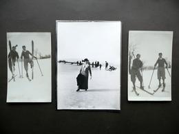 3 Fotografie Originali Sport Invernali Sci Pattinaggio Su Ghiaccio Primo '900 - Foto