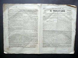 Il Proletario Giornale Anno I N. 18 Torino 22/7/1849 Risorgimento Storia - Books, Magazines, Comics