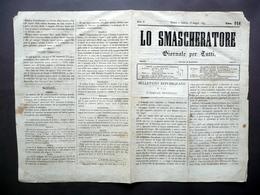 Lo Smascheratore Giornale Anno II Numero 118 Torino 26/5/1849 Risorgimento - Libri, Riviste, Fumetti