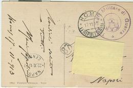 """HOMS (LIBIA), B/N-ANIMATA-TIMBRO """"TRIBUNALE MILITARE DI GUERRA"""" 1913- IN FRANCHIGIA - PER NAPOLI - Guerra 1914-18"""