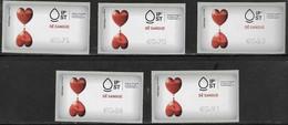 PORTUGAL, 2019, MNH, ATM LABELS, HEALTH, BLOOD DONATION,5v - Other