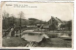 Resteigne - Vallée De La Lesse - Le Vieux Moulin Et La Passerelle - Edit. Mme Martin à Resteigne -  2 Scans - Tellin