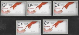 PORTUGAL, 2019, MNH, ATM LABELS, HEALTH, BLOOD DONATION, TYPE III, 5v - Other