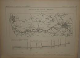 Plan Du Canal Maritime Entre Liverpool Et Manchester. 1884. - Travaux Publics