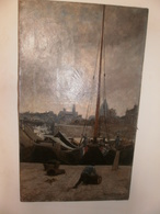 MONTENARD Frédéric. Tableau Peinture à L'huile. Bord De La Seine. PARIS. Signé. 1877 - Olii