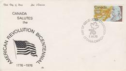 Enveloppe  FDC   1er   Jour    CANADA    Bicentenaire  De  La   REVOLUTION     Américaine    1976 - Unabhängigkeit USA