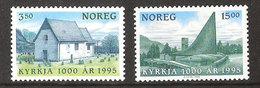 Norway Norge 1995 1000 Years Christening Norway, Church Moster And Slettebakken Mi 1181-1182 MNH(**) - Norvegia