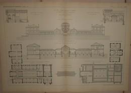 Plan Du Nouvel Etablissement Thermal De Châtel Guyon. Puy De Dôme. MM. Wulliam Et Farge, Architectes. 1884. - Public Works