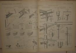Plan D'une étude Sur Les Assemblages De Bois Et De Fer Et De Fer Et Fonte. 1884. - Travaux Publics