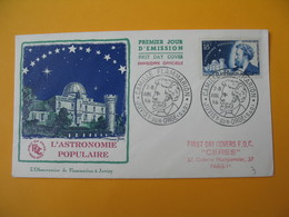 FDC 1956  France N° 1057    Camille Flamarion    Cachet  Juvisy-sur-Orge - FDC