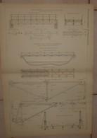 Plan Des Ponts Portatifs Construits Pour La Bolivie En 1873 Par M. G. Eiffel. 1884. - Travaux Publics