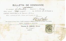 TP N°42 1ct R (voir Scan) Sur Bulletin De Commande (Fr MAUBERT à CINEY)  Oblit. CINEY Du 6.2.1900 Vers LIEGE - 1893-1907 Wappen