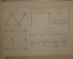 Plan D'une Charpente Reticulée à Mailles Triangulaires Identiques Et Invariables. M. R.Henry, Chef Du Bataillon Du 1884. - Technical Plans