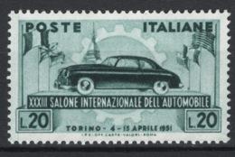 Italia Repubblica 1951 Salone Di Torino Sass.655 **/MNH VF - 6. 1946-.. Republic