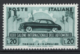 Italia Repubblica 1951 Salone Di Torino Sass.655 **/MNH VF - 1946-60: Mint/hinged