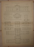 Plan De L'Hospice De Courtais à Montluçon. Allier. M. Camille Viée, Architecte à Paris. 1884. - Travaux Publics