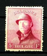 BELGIQUE - YT 177 - 5F Carmin Roi Casqué - Neuf N* - Très Beau - 1919-1920 Roi Casqué