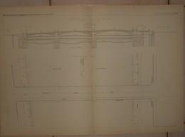 Plan Du Nouveau Pont Fixe De Rouen. 1884. - Travaux Publics