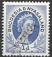 1954 Queen Elizabeth, 1d, Used - Rhodesia & Nyasaland (1954-1963)