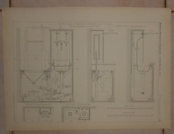 Plan D'un Poste D'eau Chaude Et Froide Avec Vidoir. MM. Gaget, Gauthier Et Cie à Paris.1884. - Obras Públicas