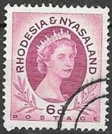 1954 Queen Elizabeth, 6d, Used - Rhodesia & Nyasaland (1954-1963)