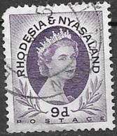1954 Queen Elizabeth, 9d, Used - Rhodesia & Nyasaland (1954-1963)
