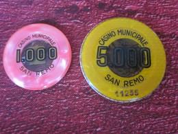 2 TOKEN JETONES-MUNICIPALE CASINO SAN-REMO-1000 E 5000 LIRES ITALIA ITALIE-2 JETONS Du CASINO MUNICIPAL SAN-REMO- - Casino