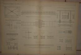 Plans De Ponts Portatifs De Portée Largeur Et Résistance Variables Dits Polytétragonaux. Système Alf. Cottrau. 1884. - Obras Públicas