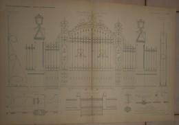 Plans De Grilles En Fer Forgé. 1884. - Architecture