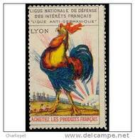 France WWI Women's Crusade Vignette Lyon Rooster Cinderella Poster Stamp - Erinnophilie