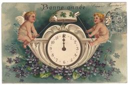 Carte Fantaisie Relief Gaufrée Embossed Cpa Angelot  Horloge Bonne Année - Fantasia