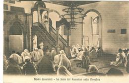 """HOMS (LIBIA),(COSTUMI),FESTA DEL RAMADAN NELLA MOSCHEA- B/N-ANIMATA-TIMBRO """"TRIBUNALE MILITARE DI GUERRA""""1913-PER NAPOLI - Guerra 1914-18"""