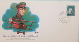 L) 1979 GERMANY, BARON MANFRED VON RICHTHOFEN, MACHINE, GREEN, 80, FDC - Germany