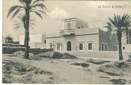 """HOMS (LIBIA),LA SCUOLA DI SLITEN- B/N-ANIMATA-TIMBRO """"TRIBUNALE MILITARE DI GUERRA""""1913-PER NAPOLI - Guerra 1914-18"""