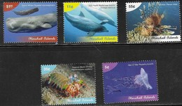 MARSHALL ISLANDS, 2019, MNH, MARINE LIFE DEFINITVES, WHALES, DOLPHINS, LION FISH, JELLYFISH, CRUSTACEANS, 5v - Baleines