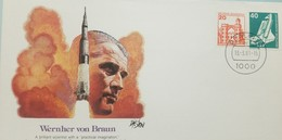 L) 1981 GERMANY, WERNHER VON BRAUN, ROCKET, AIRPLANE, ARCHITECTURE, ORANGE, 20C, FDC - Germany