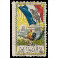 France WWI Orleans - Jeanne D'Arc - Red Cross Vignette Horse And Rooster Poster Stamp - Military Heritage