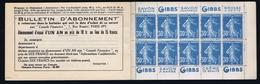 France Carnet Yv 192-C2    Postfrisch/neuf Sans Charniere /MNH/**  Gibbs 4x - Postzegelboekjes
