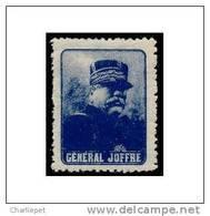 France WWI General Joffre - Blue Vignette Military Heritage Poster Stamp - Commemorative Labels