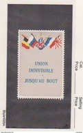 France WWI 5 Flags Union Indivisible Vignette  Military Heritage Poster Stamp - Commemorative Labels