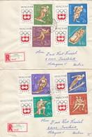 1964INNSBRUCK - Ungarn - MiNr: 1975A-1982A Komplett Auf 2 Rekobelegen   Used - Winter 1964: Innsbruck