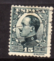 SPAIN ESPAÑA SPAGNA 1930 KING ALFONSO XIII RE CENT. 15c USATO USED OBLITERE' - 1889-1931 Regno: Alfonso XIII