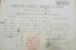 O) 1881 CUBA-CARIBBEAN, SPANISH ANTILLES, CERTIFICATE REVENUE IMPERIAL GENERAL CONSULATE OF CHINA - CUBA ISLAND - CERTIF - Andere