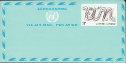 UNO NEW YORK  Ganzsache Luftpostkfaltbrief LF 8, Ungebraucht, UN + Vögel 1977 - New York -  VN Hauptquartier