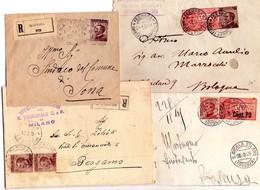 ITALIA   Storia Postale Regno   Lotto Di 4 Buste  Di Cui 2 X Racc. - 1900-44 Vittorio Emanuele III