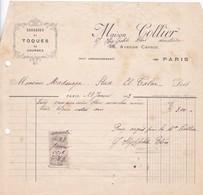 MAISON COLLIER - FACTURE PARIS AN YEAR 1913 AVEC FISCAUX - BLEUP - Francia