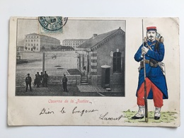 AK CP Caserne De La Justice Soldat Francais In Reliëf Paris? - Casernes