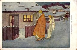 SAINT NICOLAS Et ANGELOT / SANKT NIKOLAUS : ILLUSTRATION : O. КУЛЬЧИЦЬКА - TEXTE En RUSSE ( ART RUSSE ? ) ~ 1910 (ac331) - Fêtes - Voeux