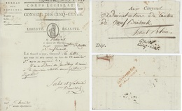 Cachet Et Griffe Conseil Des Cinq-cens - Cinq Cents - 500 En Rouge  An 5 - 24.7.1797 Sénéchal 897 Et 8988 Héraldique - Marcophilie (Lettres)